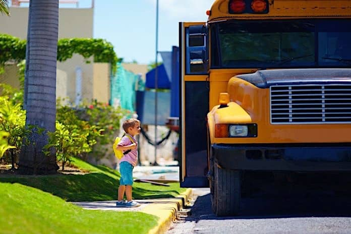 Stock Photo of a school bus stop.