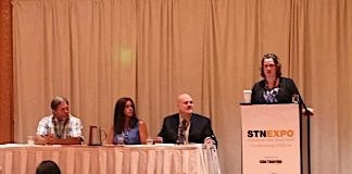 At right, moderator Amanda Essex of the National Conference on State Legislature addresses lap-shoulder seat belt issue with panelists, from left, Charlie Ott of Fremont Unified School District in California, Cindy Steigerwald of Mukilteo School District in Washington and Tom Cohn of Helena Public Schools.