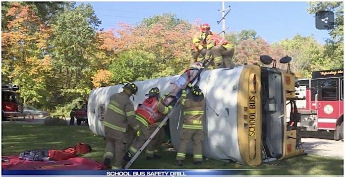 Mock school bus crash in Michigan City// WSBT 22