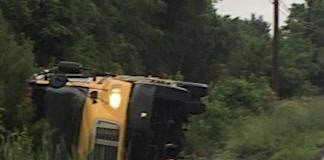 Stock photo of an overturned school bus.