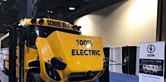 Lion Electric school bus at 2018 ACT EXPO