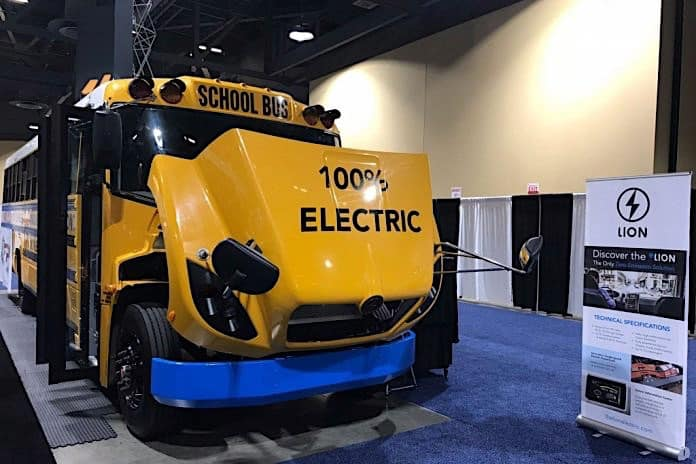 The eLion school bus from The Lion Electric Company was displayed at the 2018 ACT Expo in Long Beach, California.