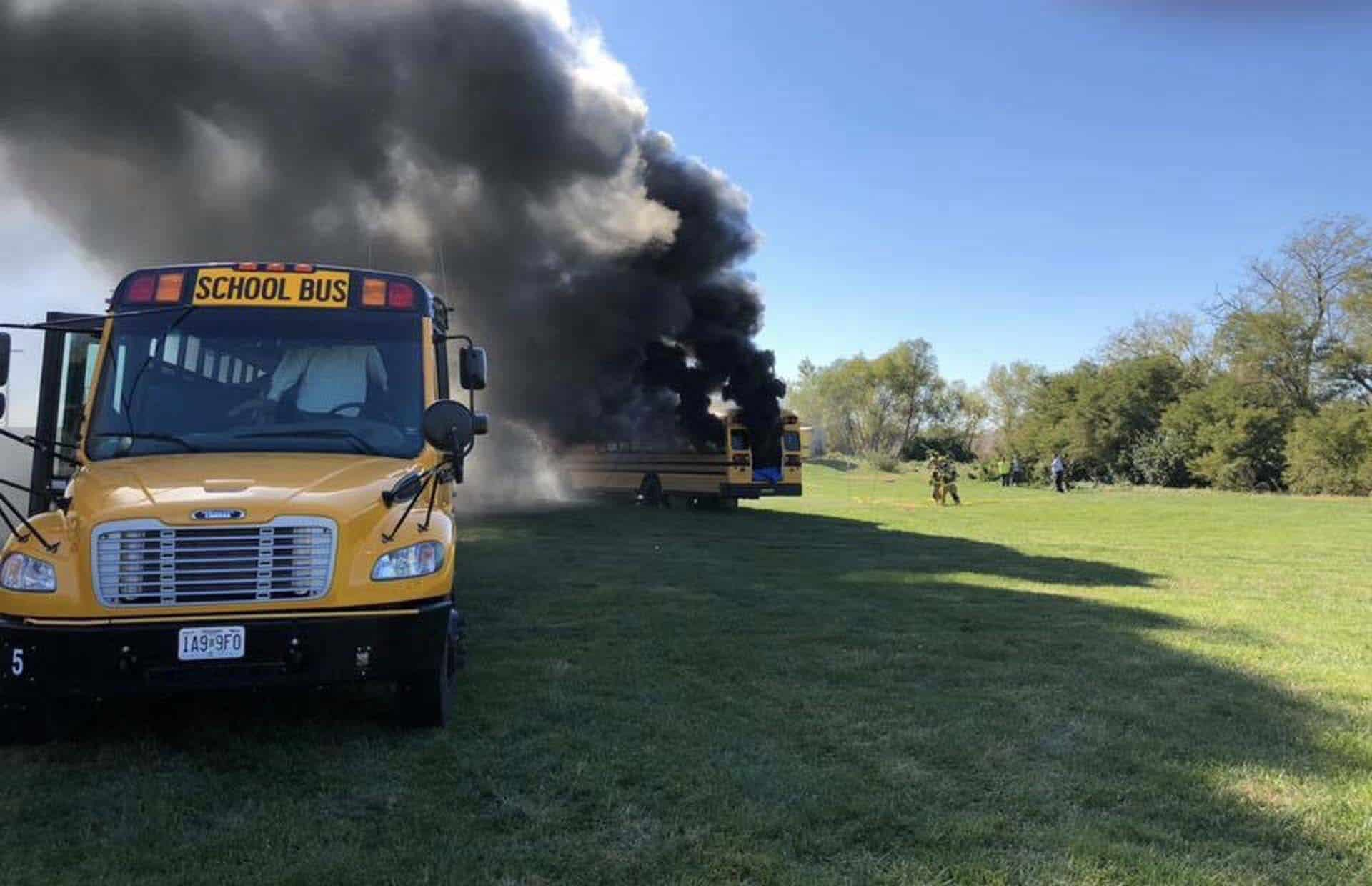 File photo of a controlled school bus fire.