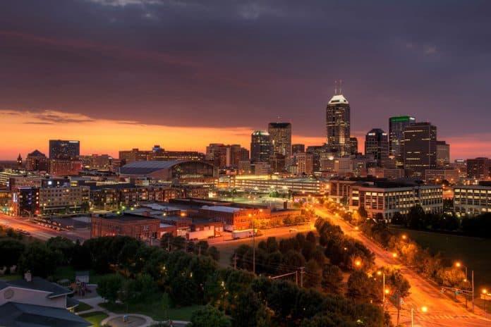 Indianapolis skyline at dusk.