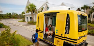 Autonomous school shuttle in Babcock Ranch, Florida.