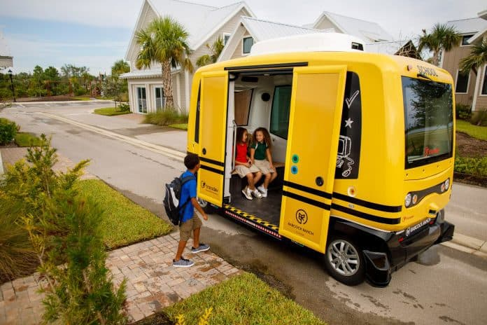 Autonomous school shuttle in Babcock Ranch, Florida.