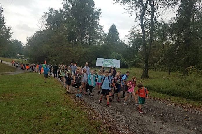 Children walking to school on Oct. 10, 2018.