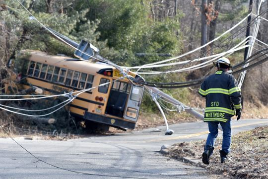 The students and driver remained on the bus until being told it was safe to exit by official personal. (Photo by Tariq Zehawi/NorthJersey.com.)