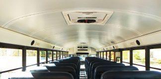 Interior of a school bus.