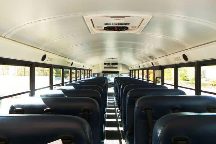 Interior of a school bus.