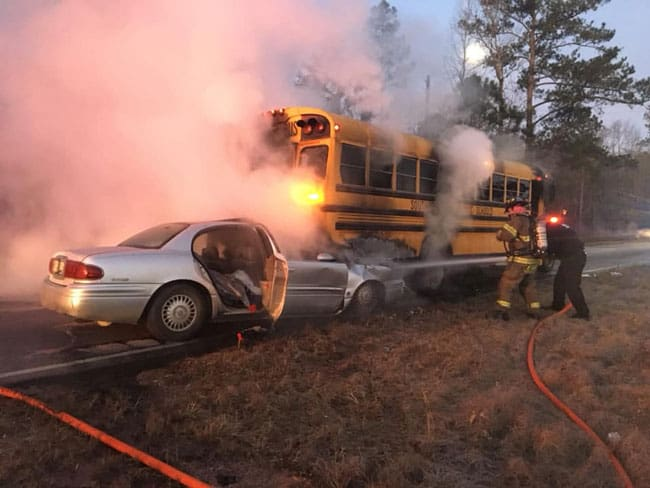 Firefighters put out crash fire in South Carolina.