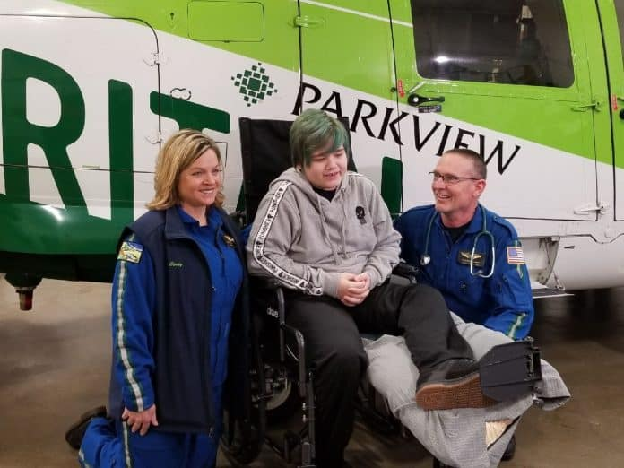 Maverik Lowe meeting with the medical team that saved his life. (Photo from Maverik Lowe's Updates Facebook Page.)