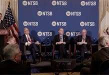 Present at the NTSB news conference were: Chairman Robert Sumwalt (seated on the left), Vice Chairman Bruce Landsberg, Board Member Earl Weener and Board Member Jennifer Homendy.