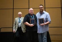 Pictured from left are: Bud Fears, central states regional sales manager for TSD Roadeo sponsor Q'STRAINT/Sure-Lok, with Logan Heckathorn and Stuart Stutzman of Plano ISD, who came in first place at the 2019 TSD Roadeo competition.