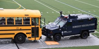 A school bus security drill . (Photo courtesy of Chris Ellison, Eugene School District in Oregon.)
