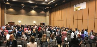 Attendees meet and greet each other during the TSD Conference orientation session on Saturday, March 16, 2019.