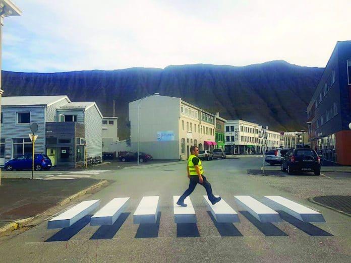 3D pedestrian crossing island Image credits-Vegamálun.