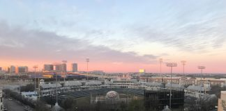 Sunrise in Frisco over the ballpark