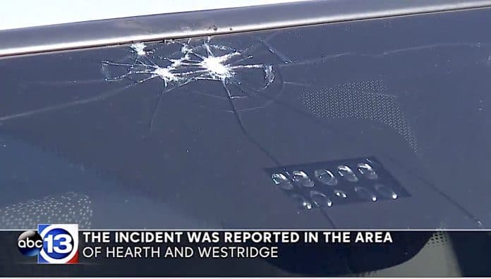 The impact spot is clearly visible in the top part of the windshield of the car that allegedly struck a Houston elementary school student on April 10, in this screen capture from an ABC 13 news report.