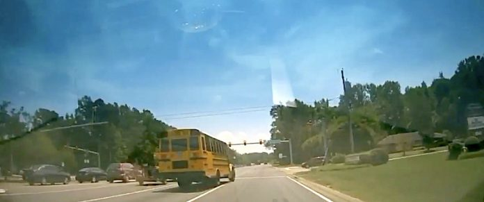A school bus driver for Chesterfield Schools reportedly ran a stop-sign and swerved into cars.