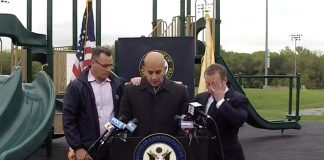 During an emotional press conference on May 14 at Besen Park in Westwood, N.J., Joevanny Vargas, the father of Miranda Vargas, discusses the need for new safety legislation. Paramus Mayor Richard LaBarbiera is on the left, and local U.S. Congressman Josh Gottheimer (NJ-5) is on the right. Miranda lost her life in the tragic Paramus bus crash one year ago this week.