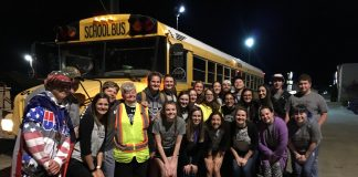 The SVHS Math Team is pictured with Judy Scott after Scott safely parked her bus after losing all power. (Photo courtesy of SV196 District Superintendent Jason Henry.)
