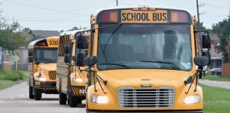 New Cypress-Fairbanks ISD buses purchased with bond money.