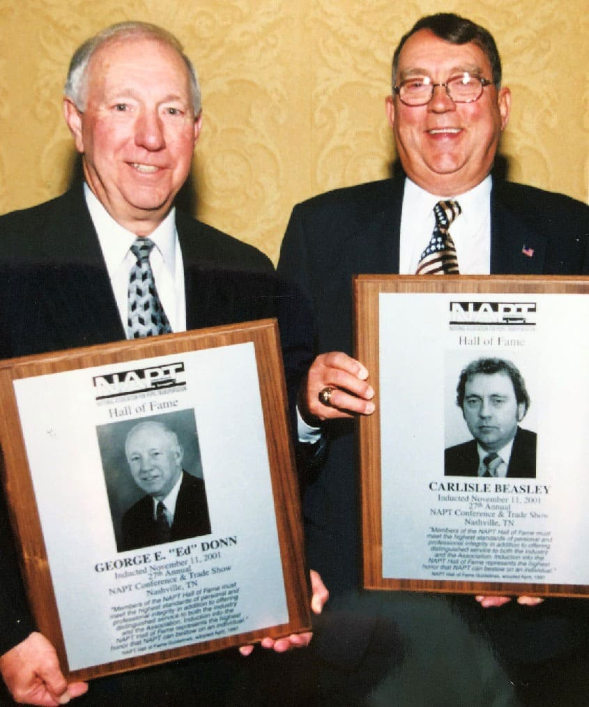 Ed Donn and Carlisle Beasley show off their NAPT Hall of Fame plaques.