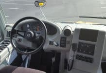 Driver's cockpit in an electric school bus.