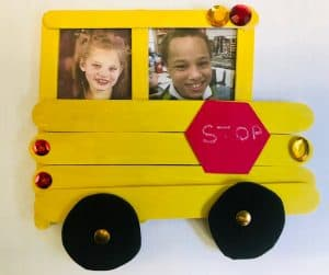 Pictures of Andromeda and Tyrone Sea were placed inside the popsicle stick school bus Tyrone made in class. (photo courtesy of the Summers County School District Transportation Department)
