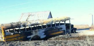 The National Transportation Safety Board will hold a board meeting on June 18, 2019, to determine the probable cause of the fatal, Dec. 12, 2017, Oakland, Iowa, school bus fire. (Source: Pottawattamie County Sheriff's Office.)
