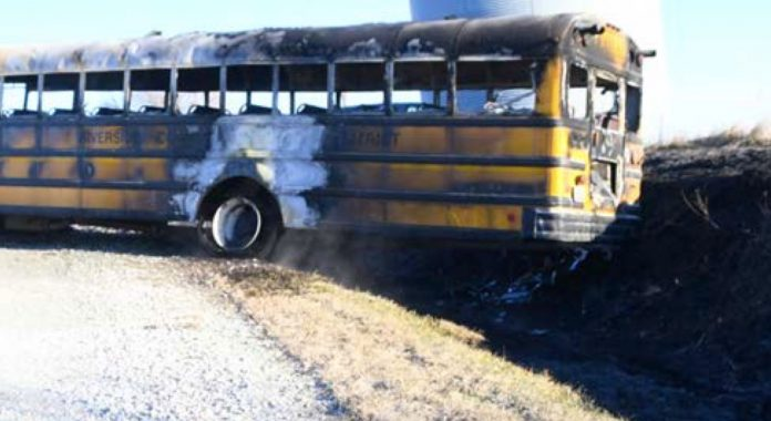 The school bus was equipped with a video recording system, but despite efforts by the NTSB lab, the video data could not be salvaged. (Photo by the Pottawattamie County Sheriff's Office.)