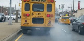 Emissions from the tailpipe of a school bus.