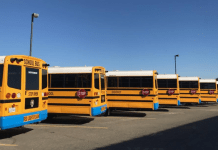 Parked electric school buses.