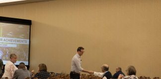 "Ryan Avery introduced himself to many attendees prior to the start of his presentation, ""Accelerate your Achievements,"" on June 9 at the STN EXPO Indianapolis."