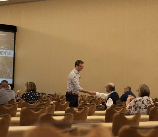 """Ryan Avery introduced himself to many attendees prior to the start of his presentation, """"Accelerate your Achievements,"""" on June 9 at the STN EXPO Indianapolis."""