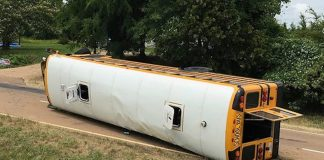 In Mississippi, 21 students were transported to the hospital after a one-vehicle school bus crash on June. 17, 2019. (Photo courtesy of the Clarion Ledger.)