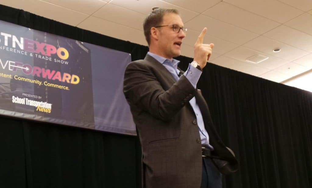 David Horsager, CEO of the Trust Edge Leadership Institute, driving home a point on the important of trust during his Indianapolis presentation, June 2019.