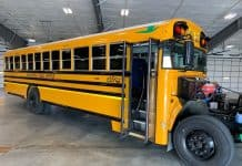 West Fargo Public Schools unveiled the first all-electric school bus in North Dakota. (Photo courtesy of Luke Hellier, Coalition for a Secure Energy Future.)