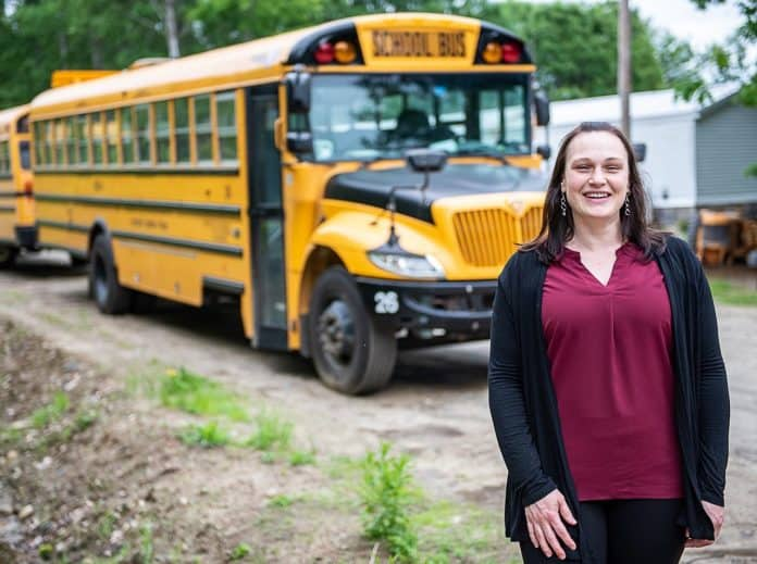 Amanda Severy was awarded a State Police Special Award of Commendation for stepping in and saving a bus full of school children when the man she was training had a heart attack. (Photo courtesy of the Sun Journal.)