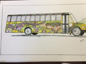 Sketch of a school bus with flowers, fruits and vegetables on it.