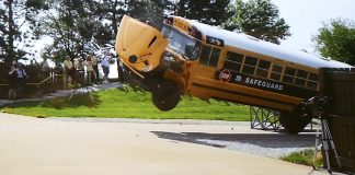 The school bus literally flew off the steel ramp during the crash demonstration at the IMMI facility.
