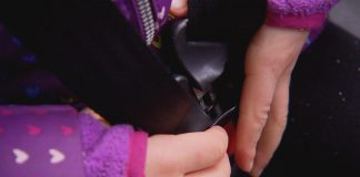 "A still from the Montana PBS documentary ""Safe Enough?"" shows a student buckling up on the school bus."