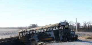 Burned Iowa school bus.