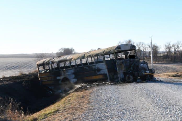 Burned Iowa school bus.