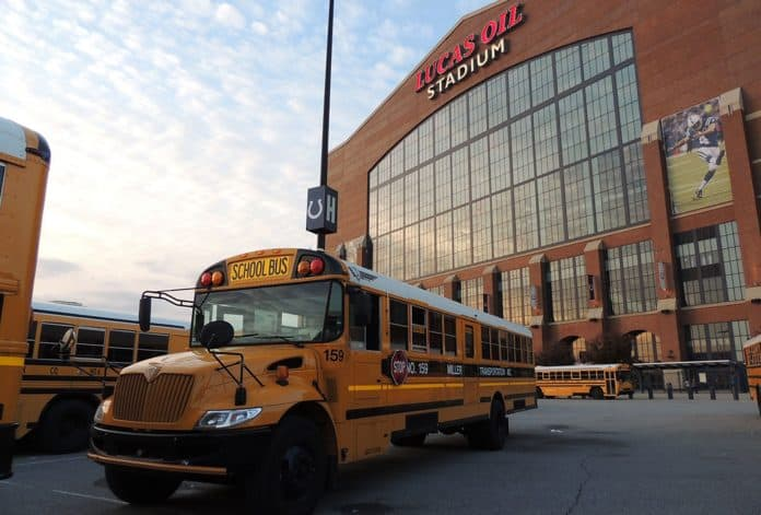 Miller Transportation buses outside of Lucas Oil Stadium in Indianapolis
