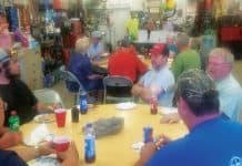 Bus Drivers at Anamosa School District in Iowa regularly gather for meals, such as their annual end of school year party.
