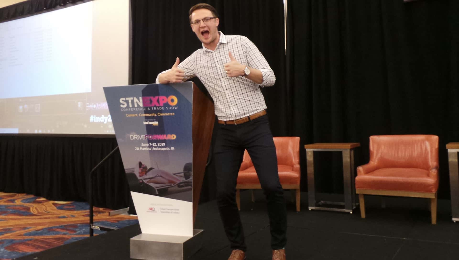 A happy Ryan Avery celebrates after his great keynote presentation. (Photo by David George.)