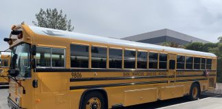 San Marcos Unified School District in California refurbished this 1998 Blue Bird Rear Engine 84-Passenger, transit-style school bus for activity and field trips. (Photo courtesy of Mike Sawyer.)