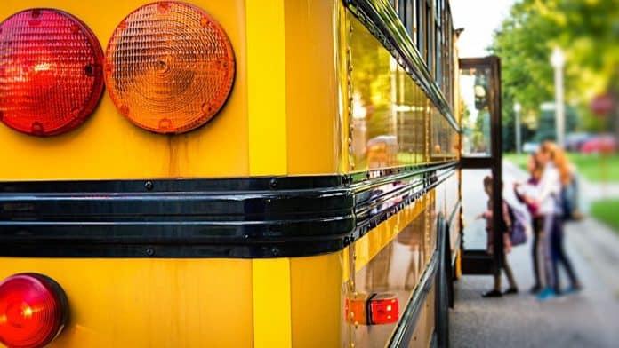 School Bus loading children